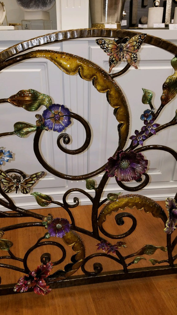 Jay Strongwater Vincente Floral Fireplace Screen SHW3256-450