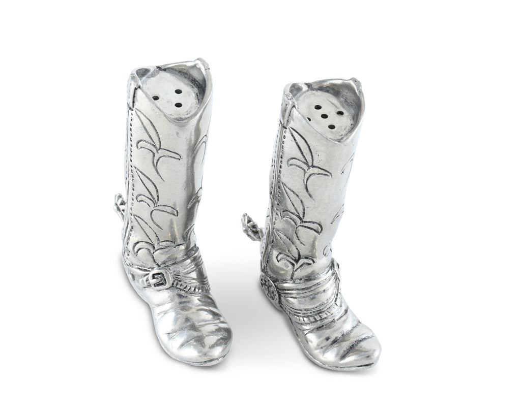 Vagabond House Western Frontier Pewter Cowboy Boot Salt & Pepper Set W116B