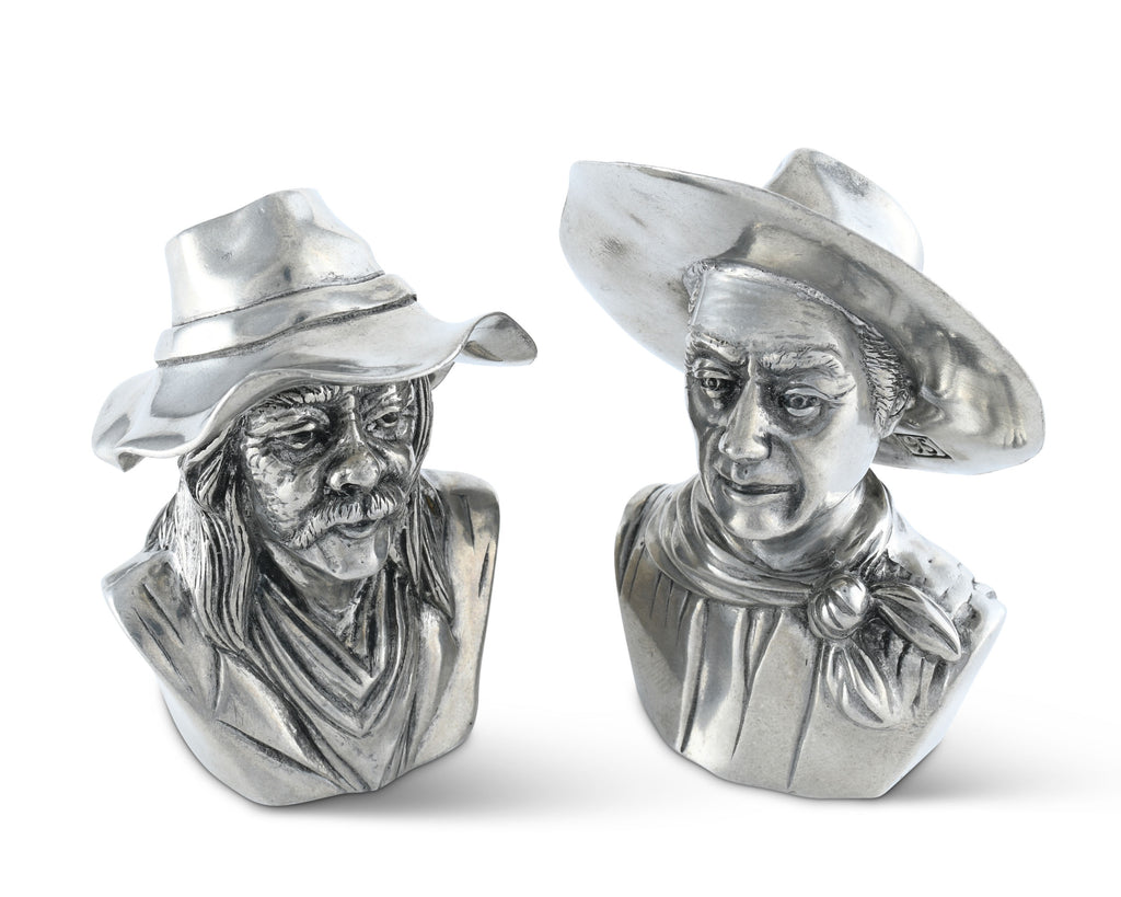 Vagabond House Western Frontier The Bandit and the Ranger Salt and Pepper Set W116CH