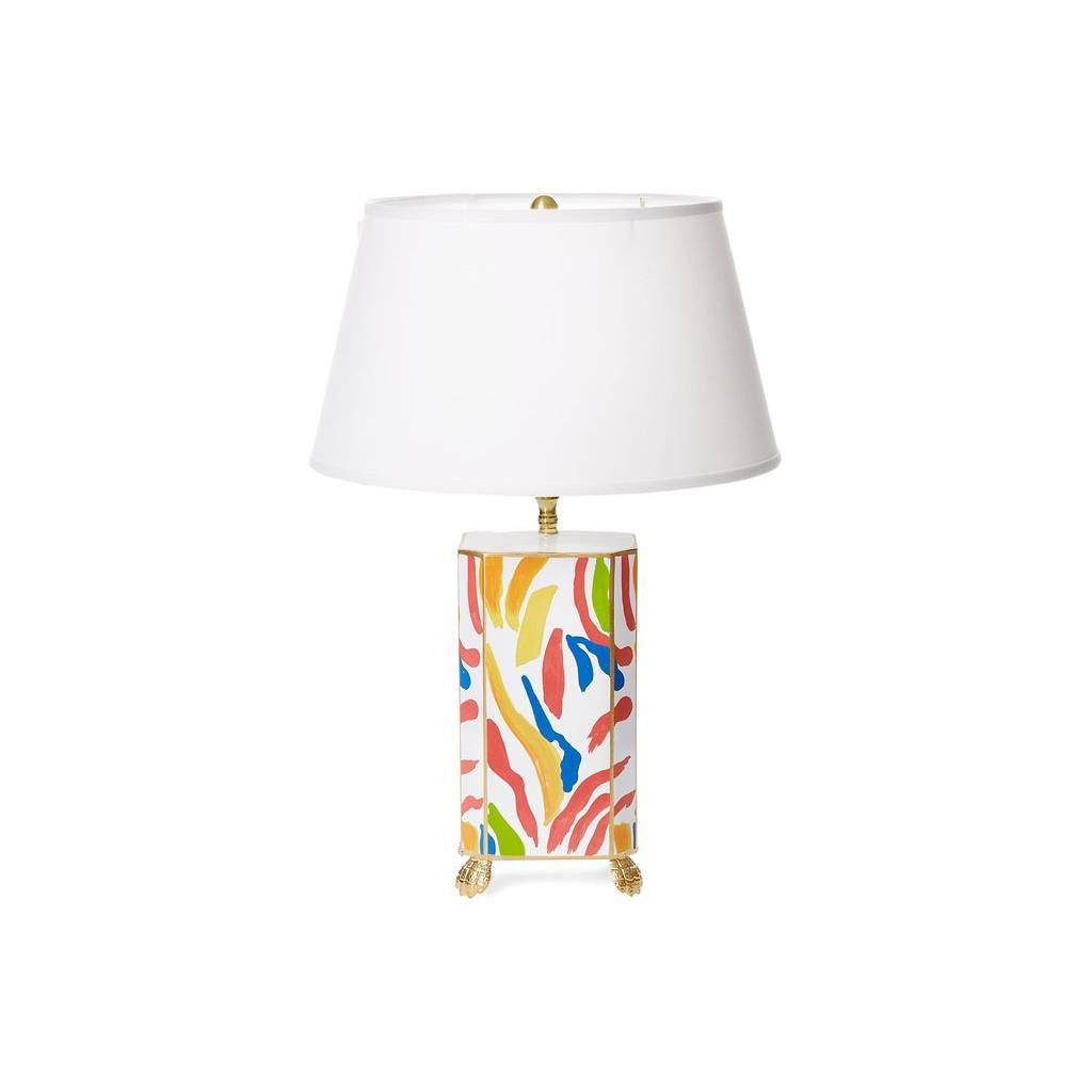 Dana Gibson Abstract Lamp with White Shade
