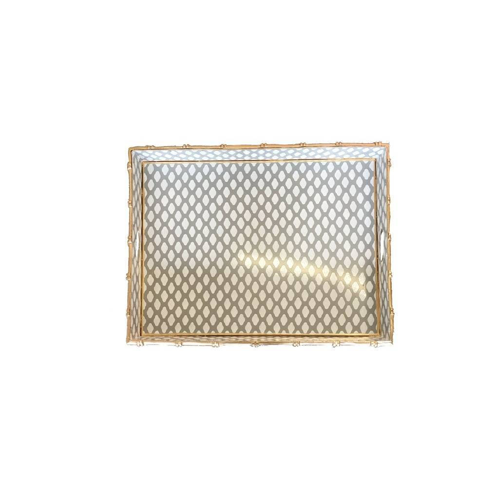 Dana Gibson Bamboo Bar Tray in Grey Parsi
