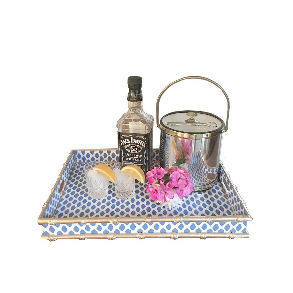 Dana Gibson Bamboo Bar Tray in Navy Parsi