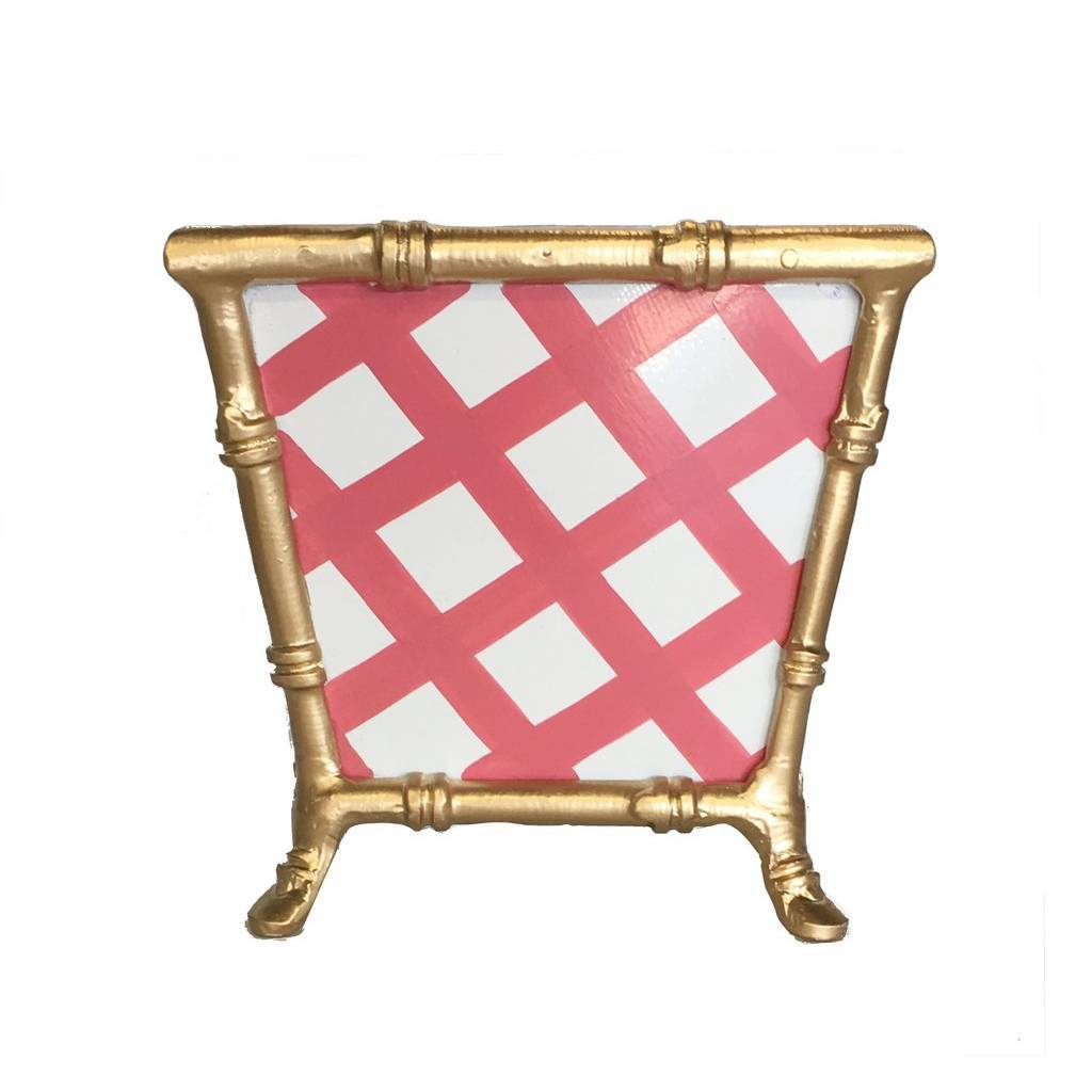 Dana Gibson Bamboo in Pink Lattice Cachepot
