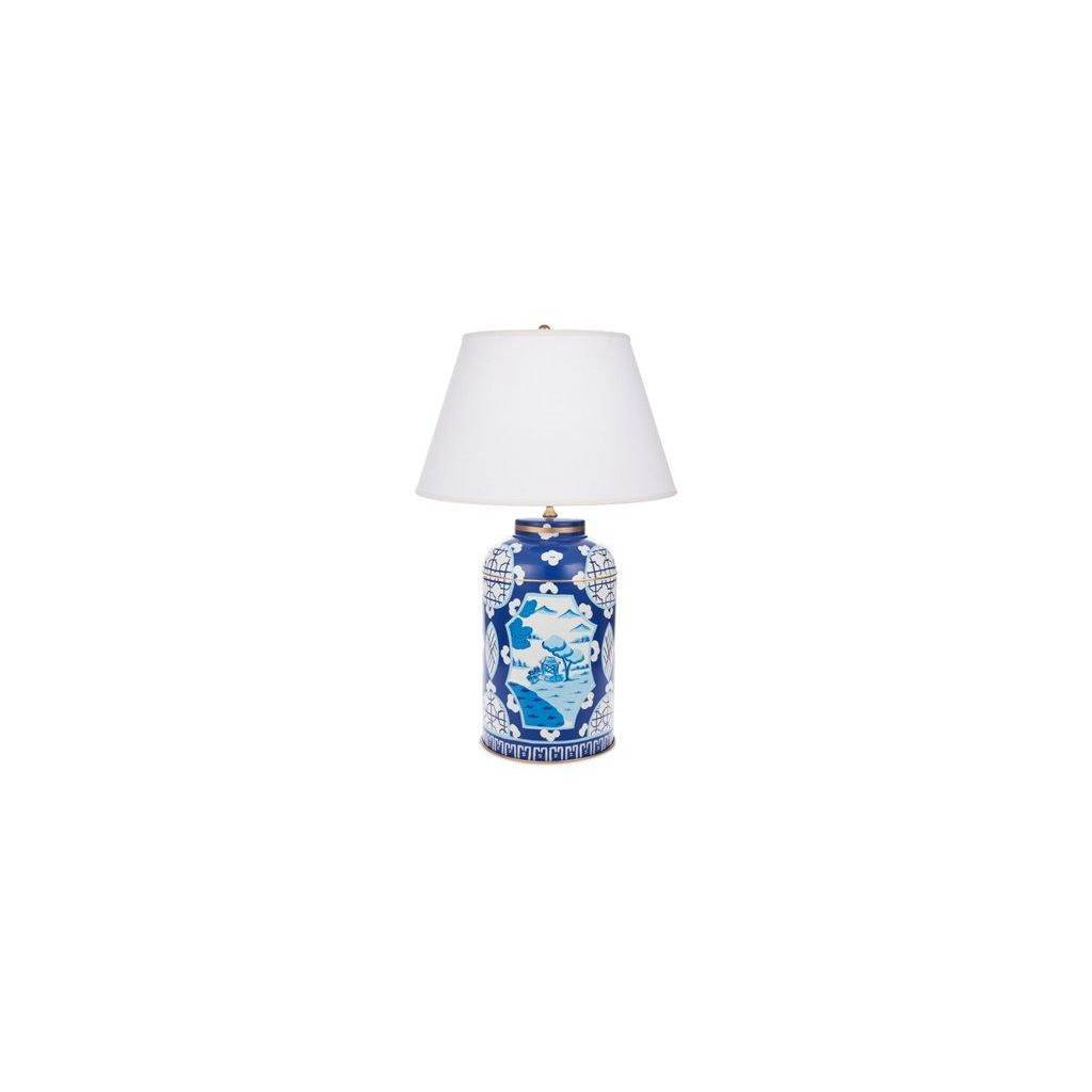 Dana Gibson Blue Canton Tea Caddy Lamp
