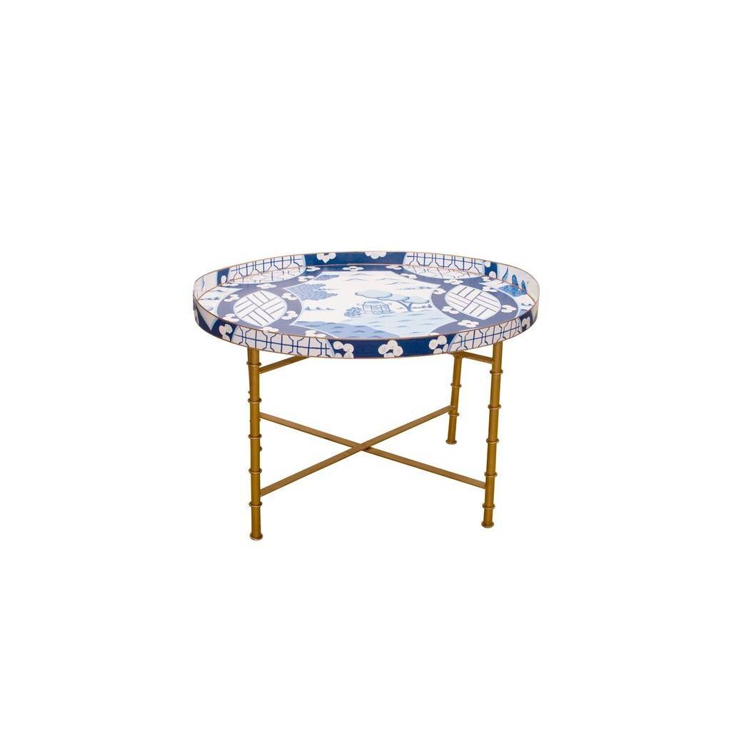 Dana Gibson Canton in Blue Tray Table or Bar