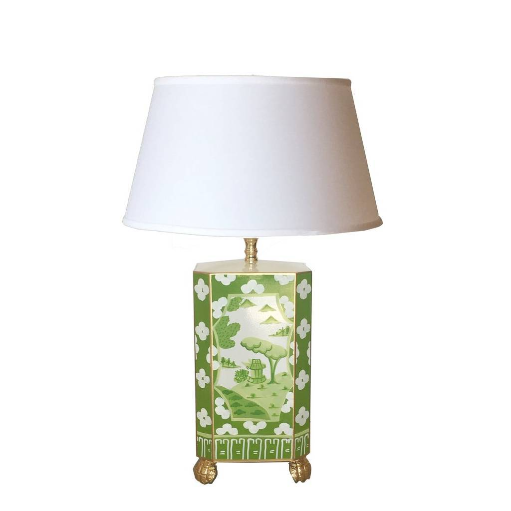 Dana Gibson Canton in Green Lamp with White Shade Small