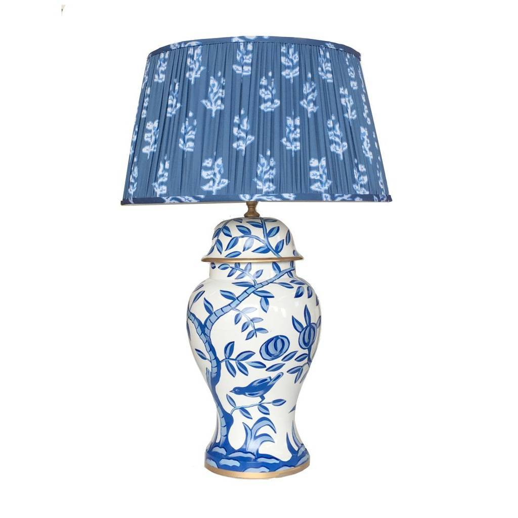 Dana Gibson Cliveden in Blue Lamp with Custom Pleated Sprig Shade
