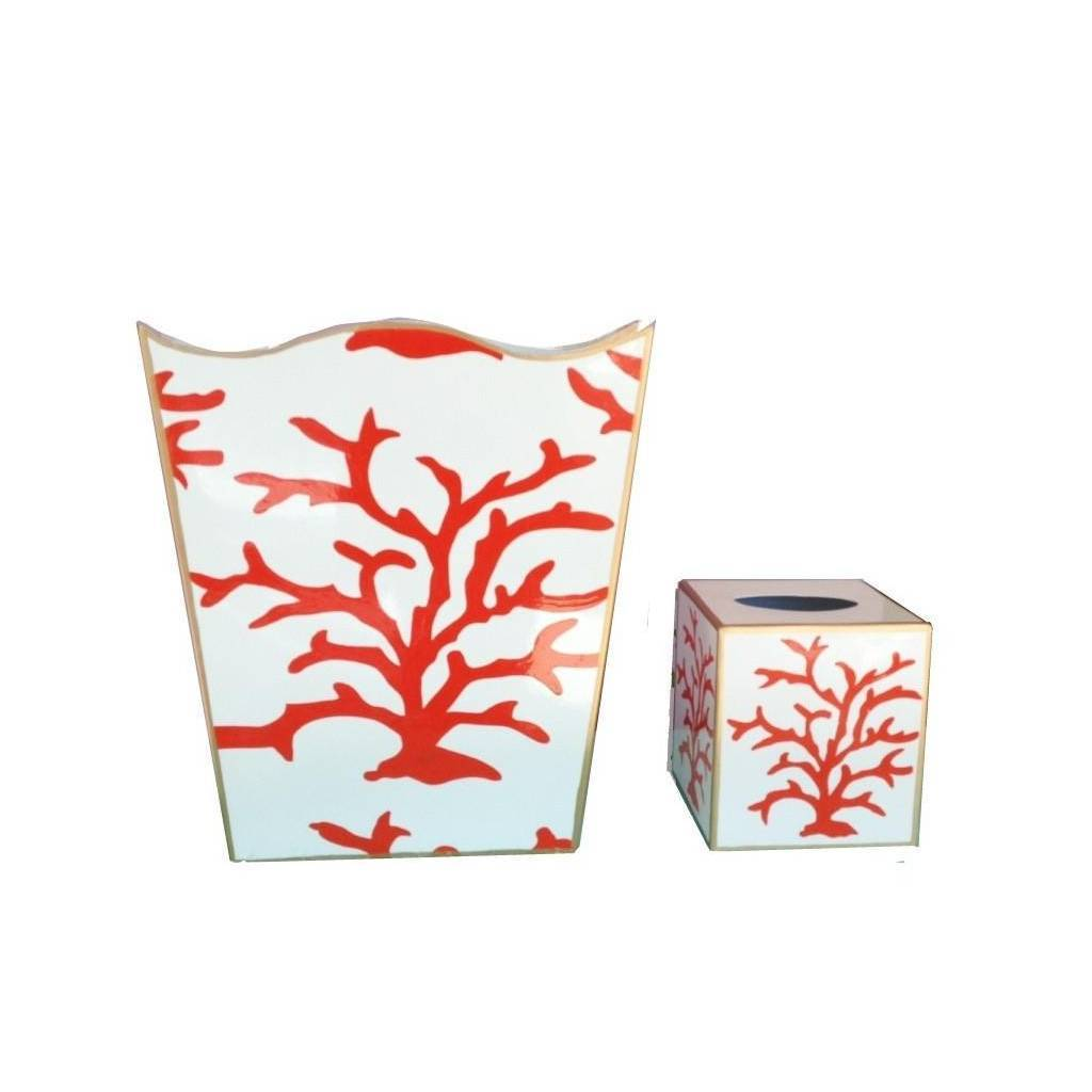 Dana Gibson Coral Coral Wastebasket