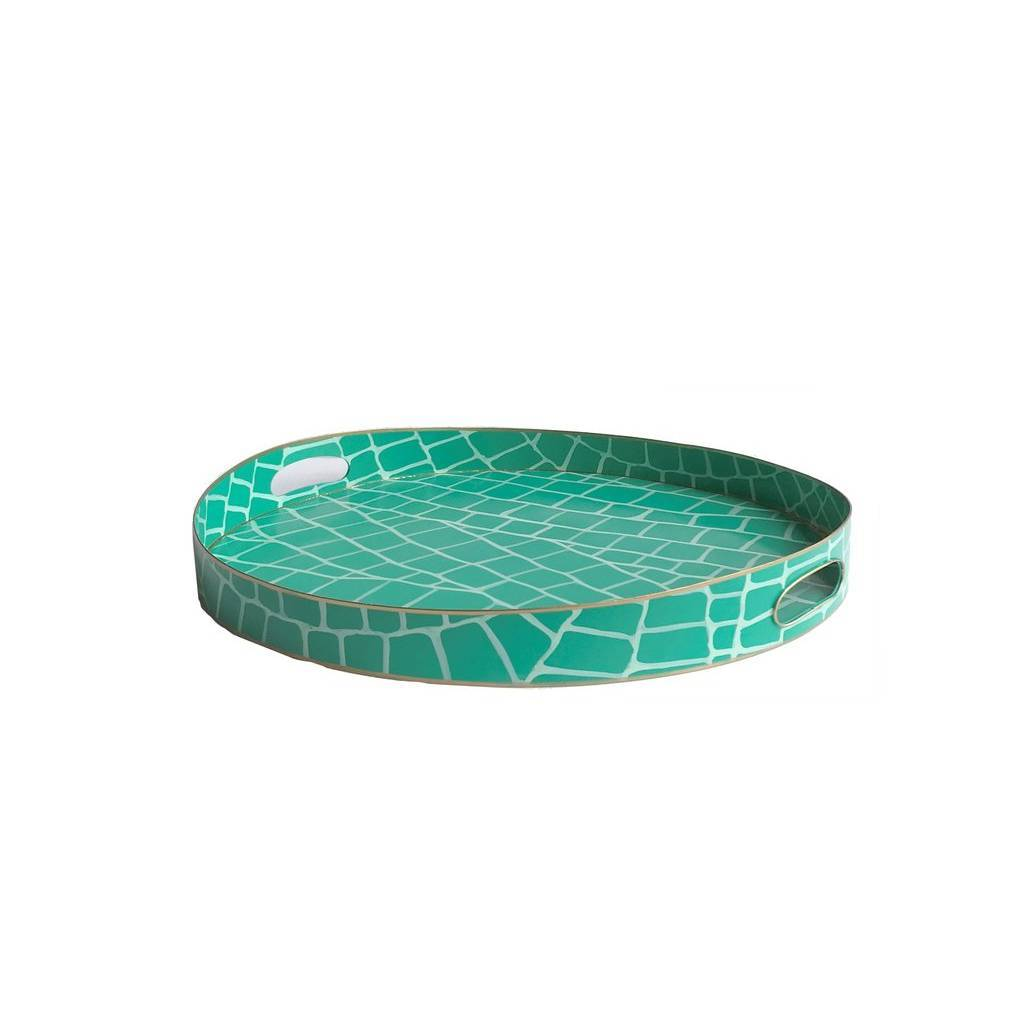 Dana Gibson Emerald Croc Tray Small