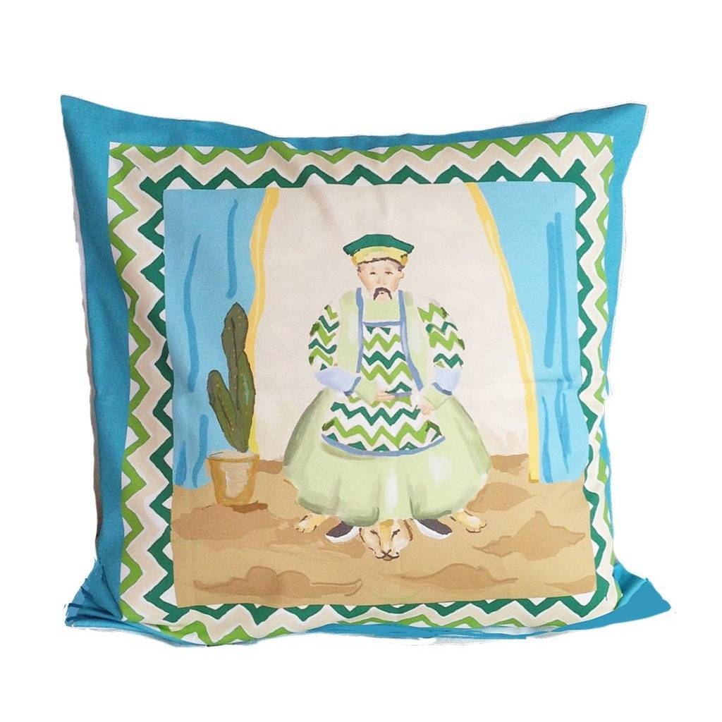 Dana Gibson Emperor Pillow in Turquoise