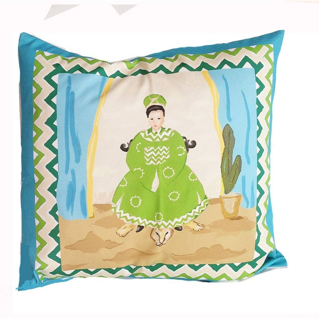 Dana Gibson Empress Pillow in Turquoise
