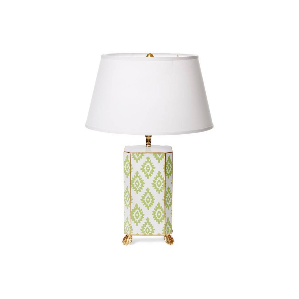 Dana Gibson Green Block Print Lamp Small