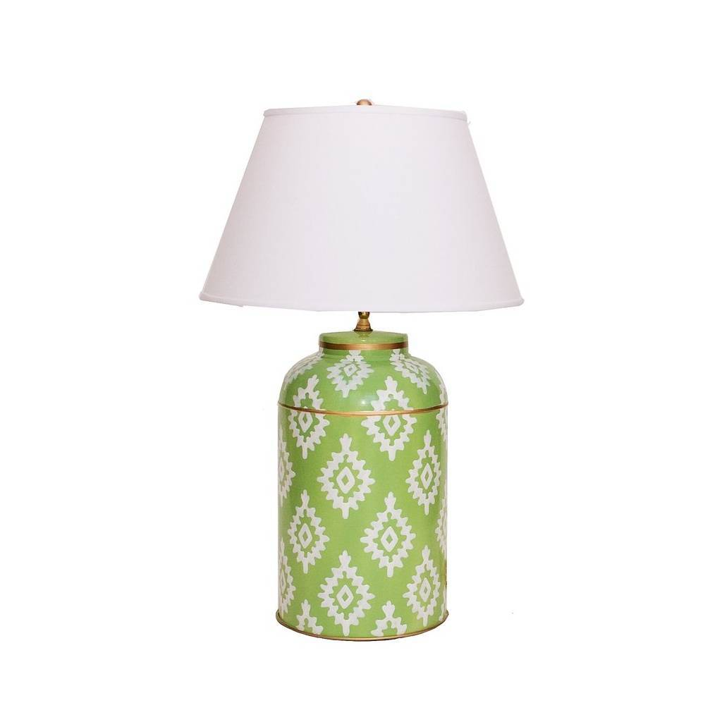 Dana Gibson Green Block Print Tea Caddy Lamp