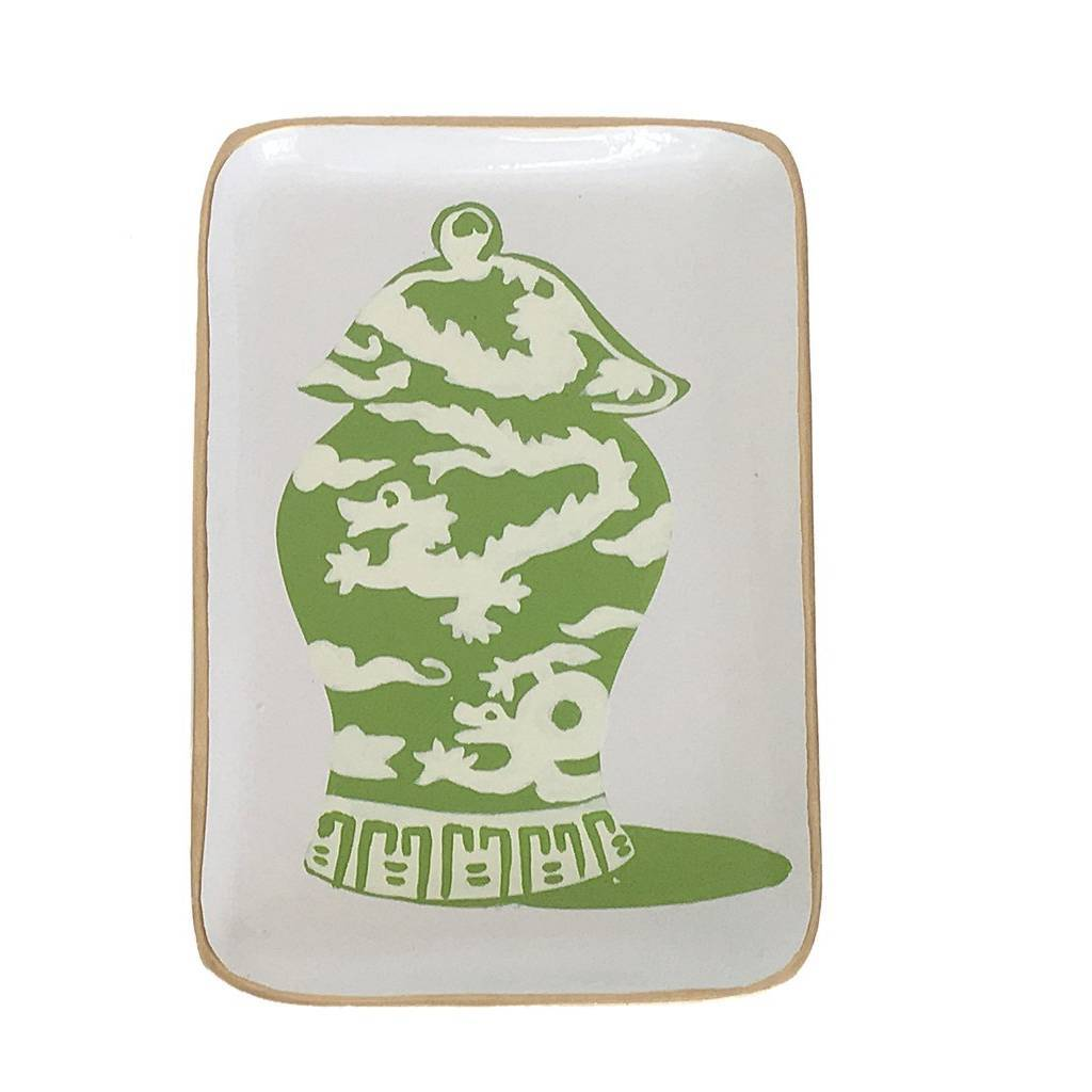 Dana Gibson Green Dragon Jar Tray
