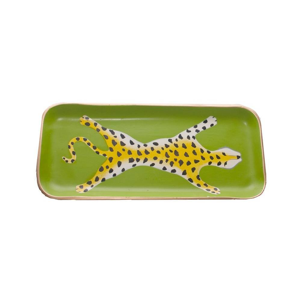 Dana Gibson Green Leopard Tray Small