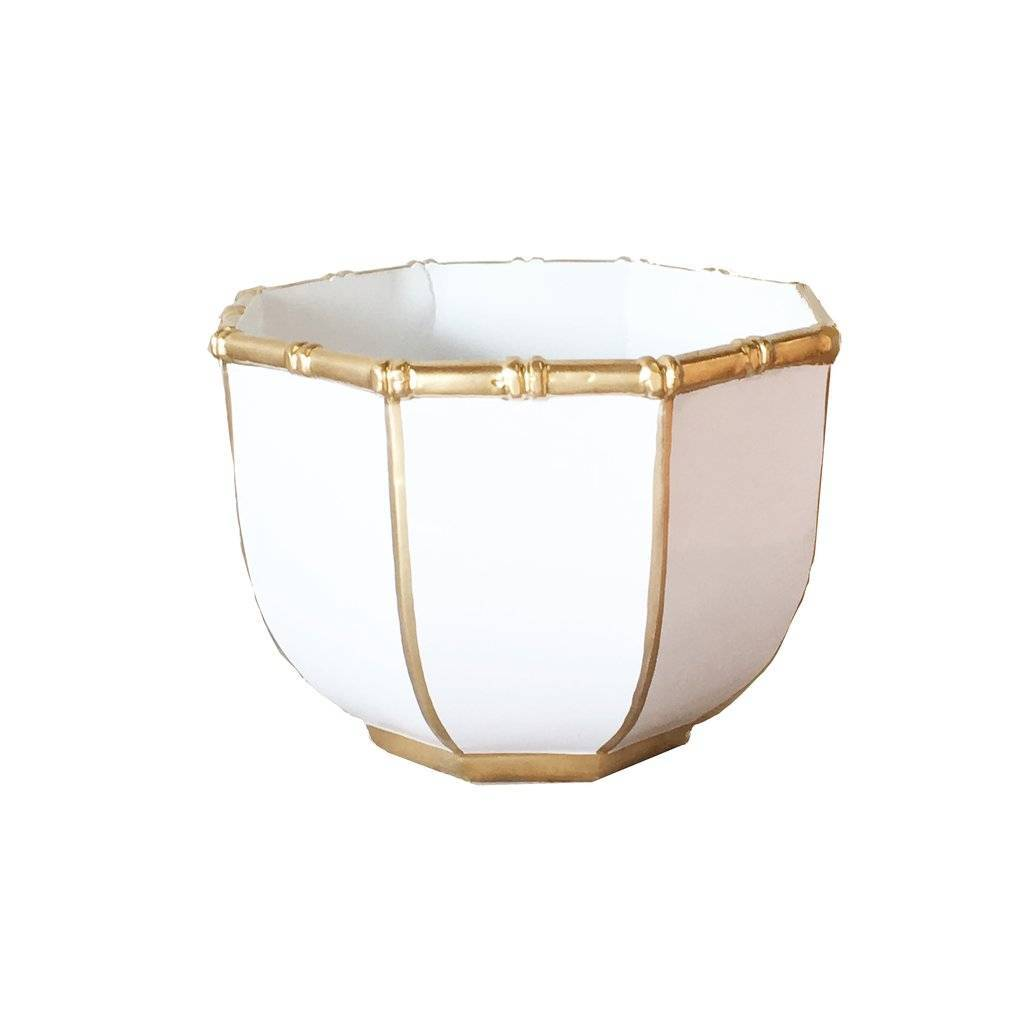 Dana Gibson Large Bamboo Bowl in White