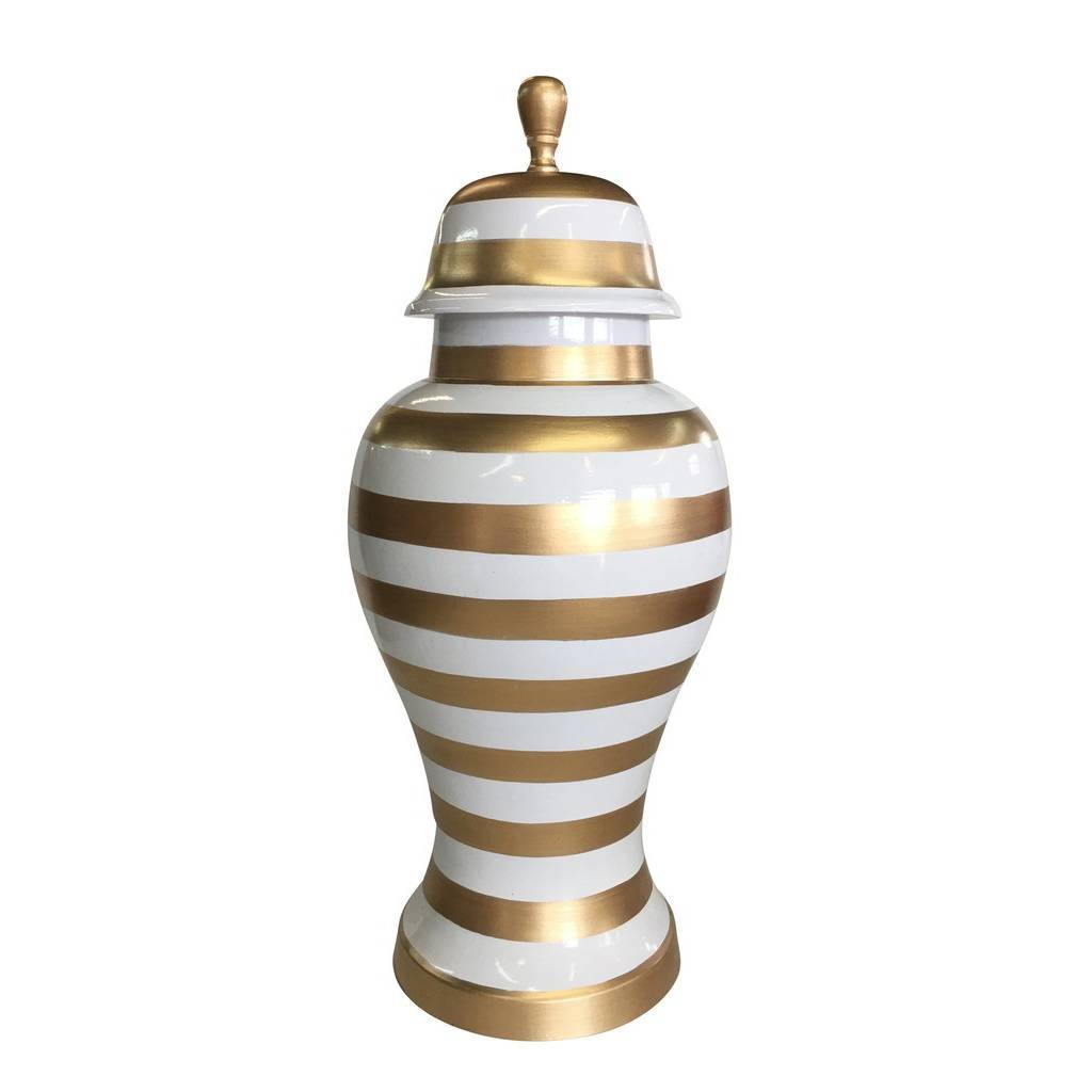Dana Gibson Medium Ginger Jar in Gold Stripe