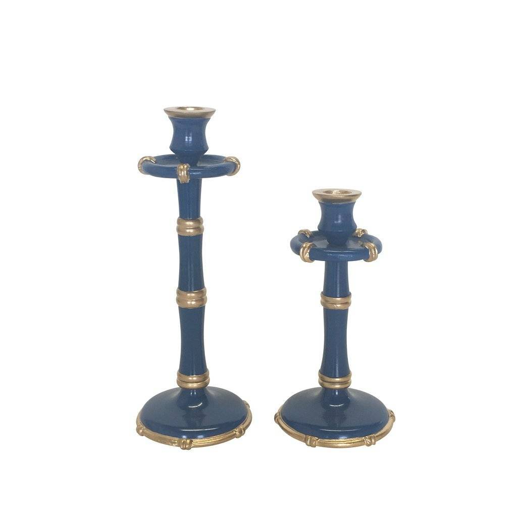 Dana Gibson Medium Pair of Bamboo Candlesticks in Navy