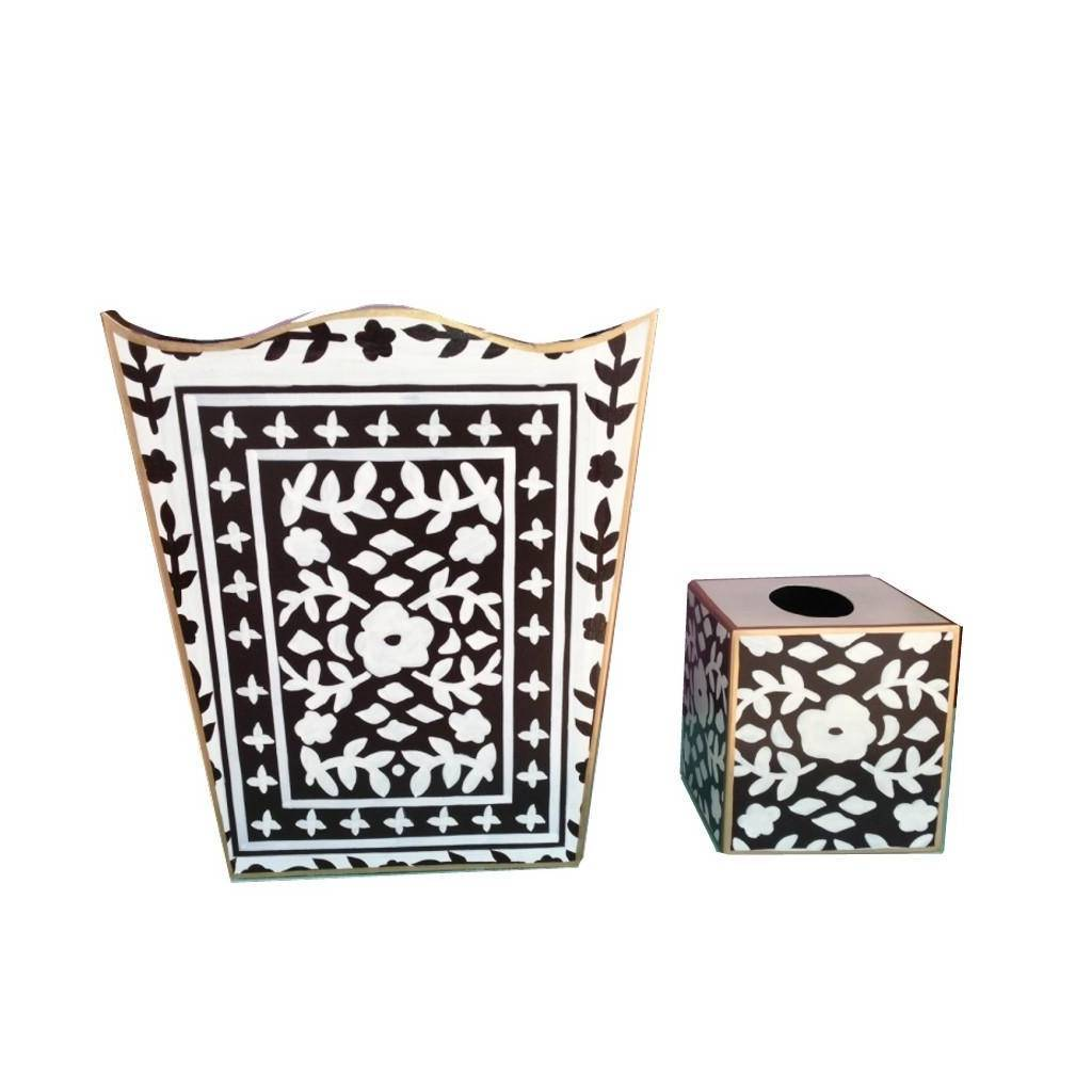 Dana Gibson Mosaic in Brown Wastebasket and Tissue Box