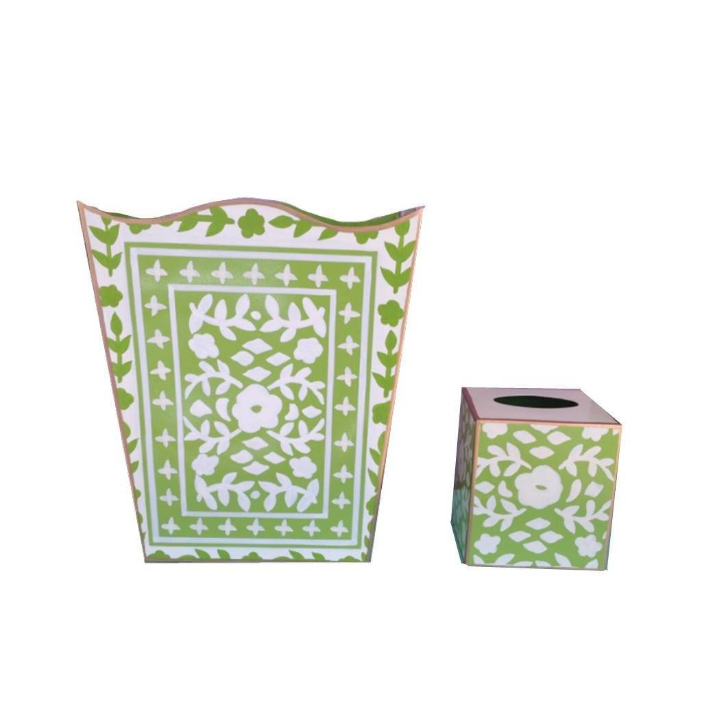 Dana Gibson Mosaic in Green Wastebasket and Tissue Box