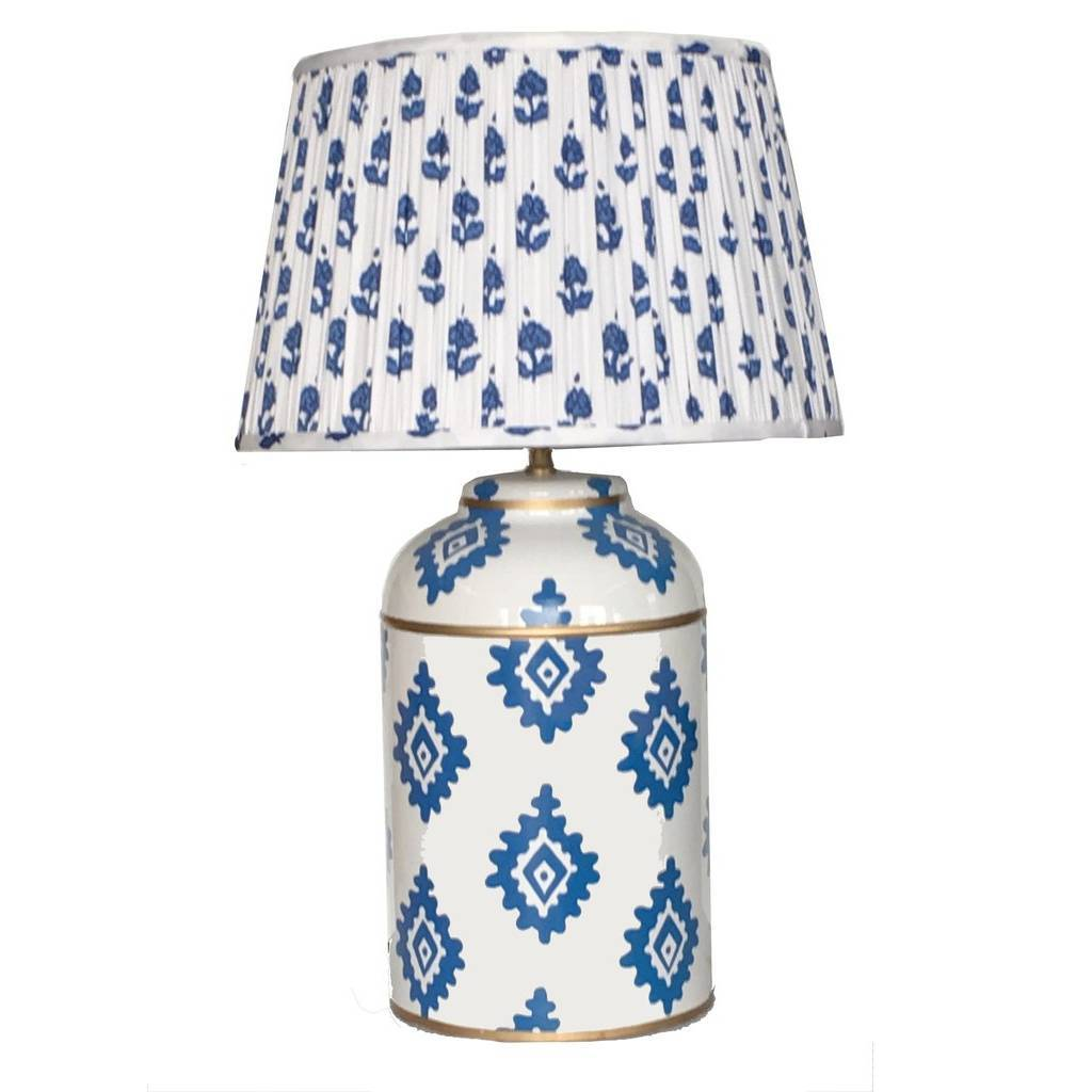 Dana Gibson Navy Block Print Tea Caddy Lamp with Pleated Blue Fleur Shade