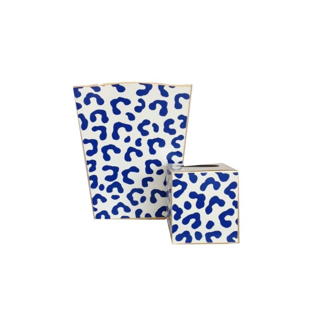 Dana Gibson Navy Ocelot Wastebasket Tissue Box Sold Seperately