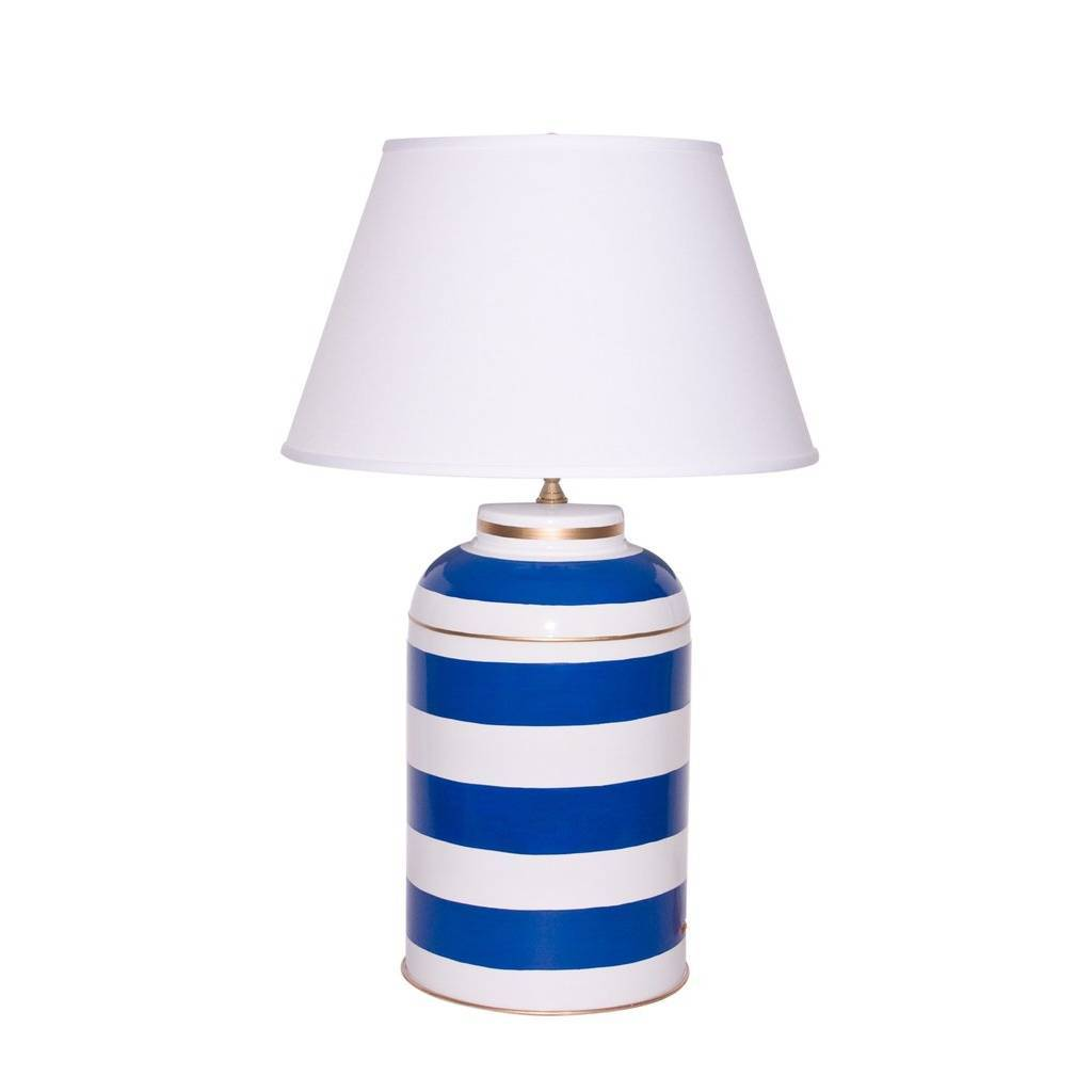 Dana Gibson Navy Stripe Tea Caddy Lamp
