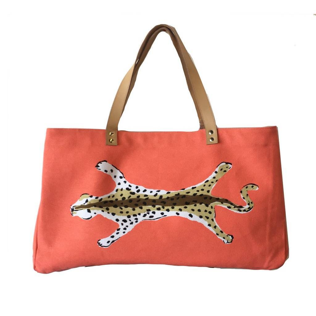 Dana Gibson Orange Leopard Shoulder Tote