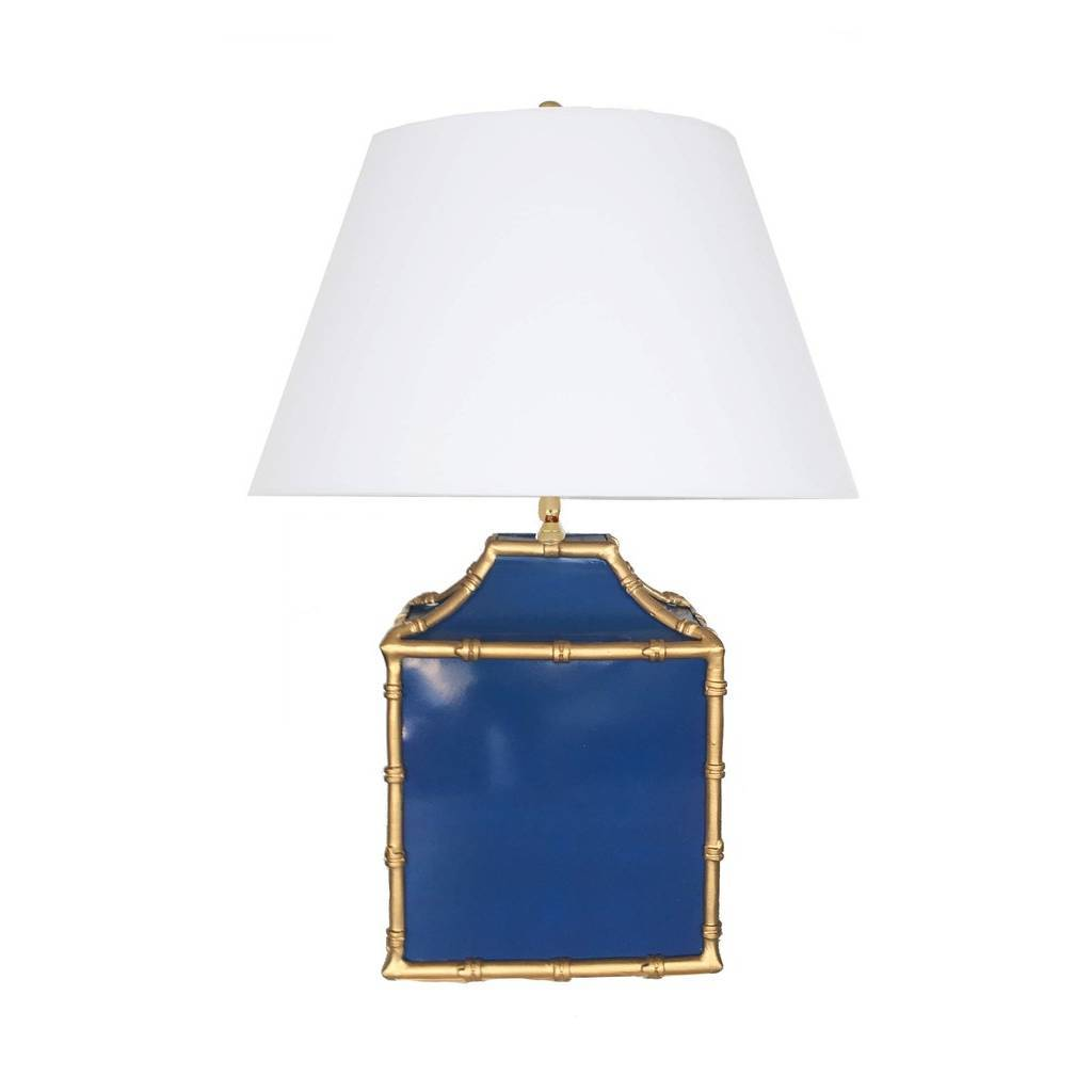 Dana Gibson Pagoda in Navy Lamp