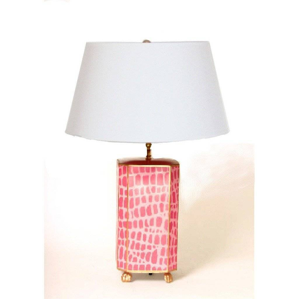 Dana Gibson Pink Croc Lamp with White or Black Shade