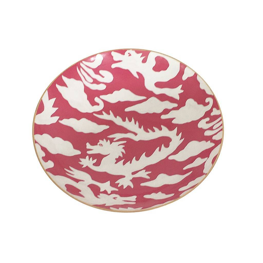 Dana Gibson Pink Dragon Bowl Medium