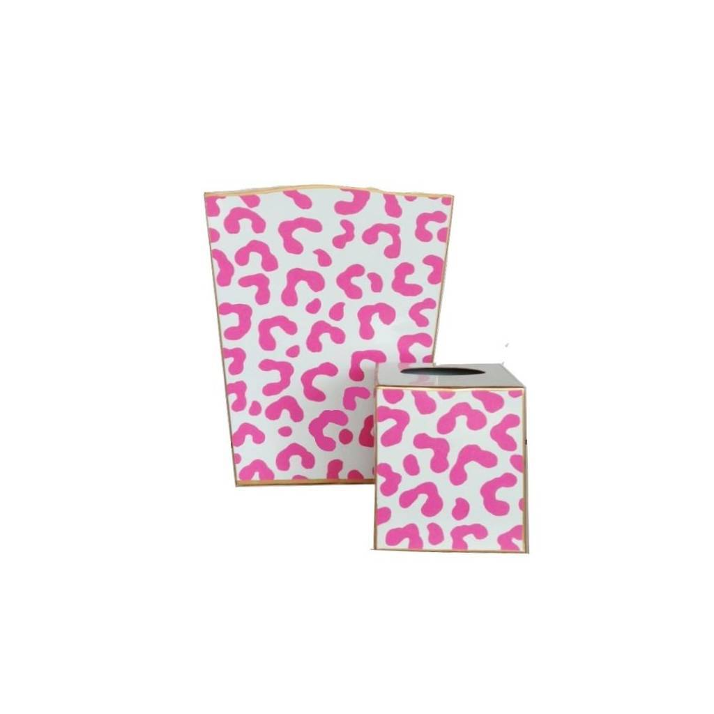 Dana Gibson Pink Ocelot Wastebasket and Tissue Box