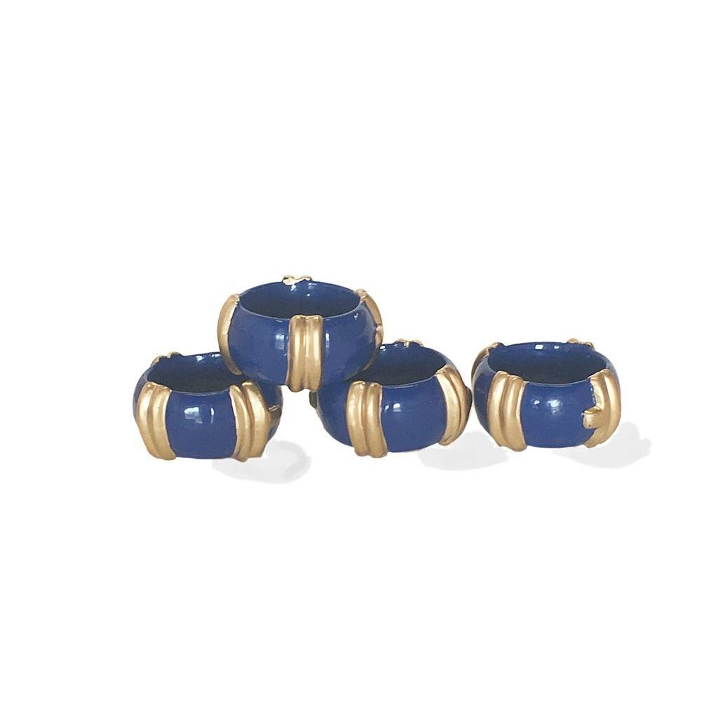 Dana Gibson Set of Four Bamboo Napkin Rings in Navy