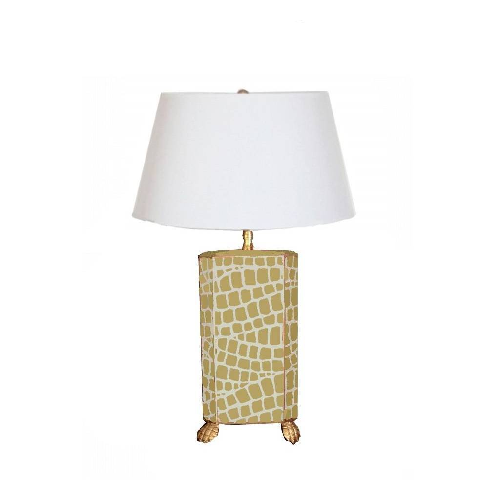 Dana Gibson Taupe Croc Lamp with White Shade
