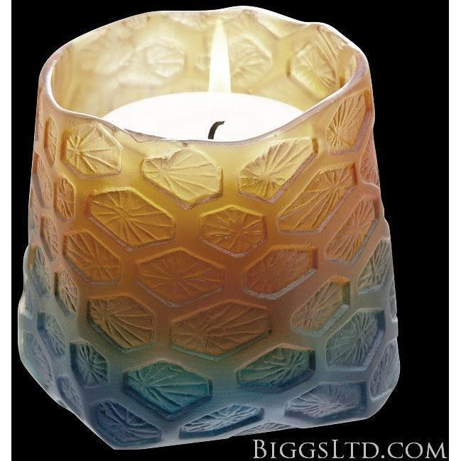 Daum Corals Candle Night Blue Amber 05462