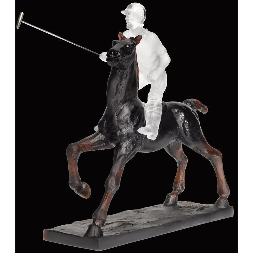 Daum Crystal Black Polo Player 05013-2