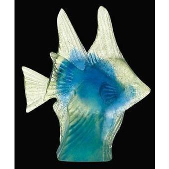 Daum Crystal Blue Yellow Fish Couple 02656-1