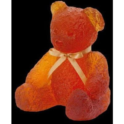 Daum Crystal Doudours Teddy Bear Large Amber 05365