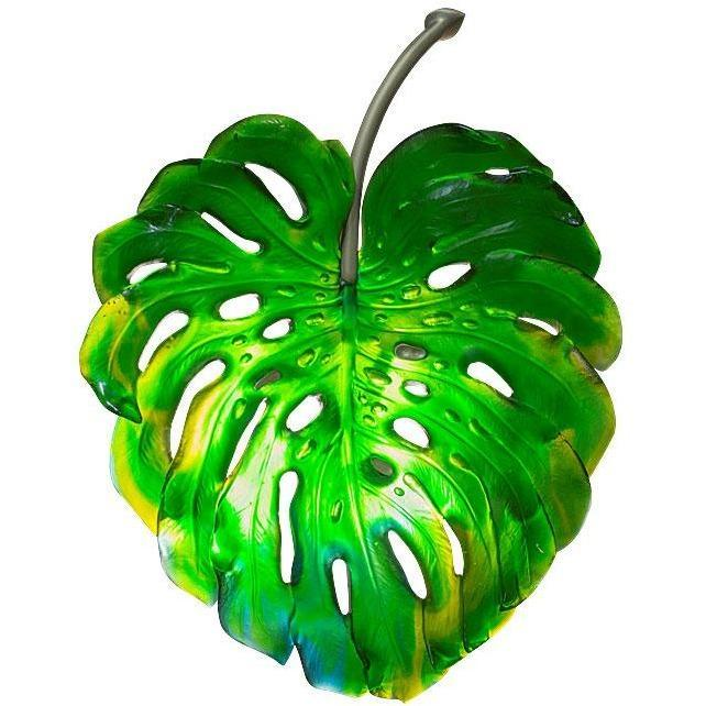 Daum Crystal Emilio Robba Small Green Monstera Wall Lamp 05321