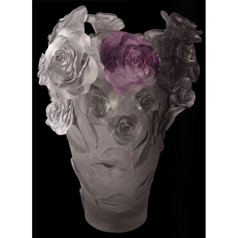Daum Crystal Flower Vase Grey Purple 05308-3