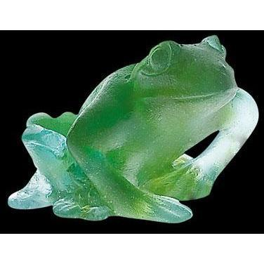 Daum Crystal Frog Turquoise 03281