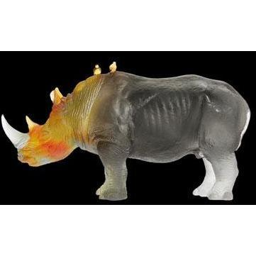 Daum Crystal Grey Amber Rhinoceros 03400-1