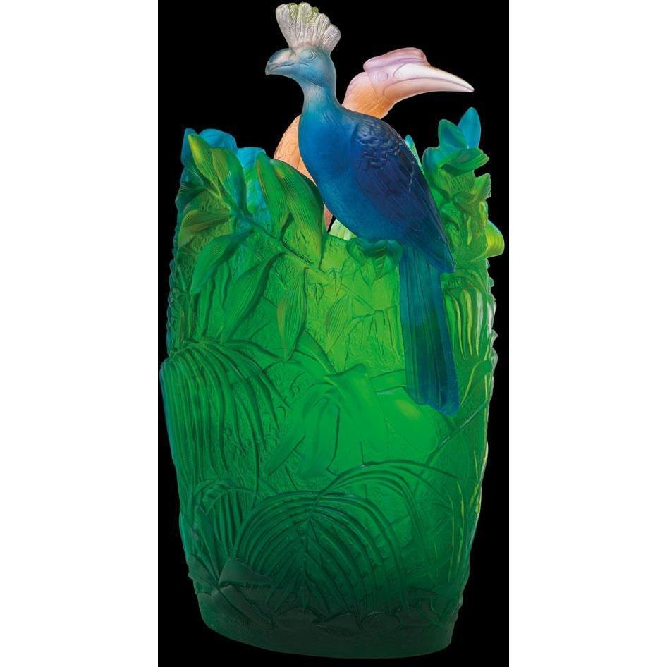 Daum Crystal Jungle Oval Vase 05337