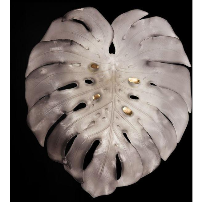 Daum Crystal Monstera Wall Lamp Large Grey 05319-2U
