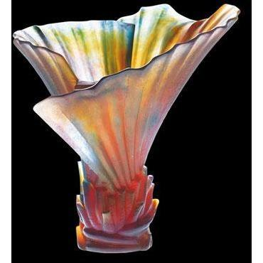 Daum Crystal Palm Vase 03456
