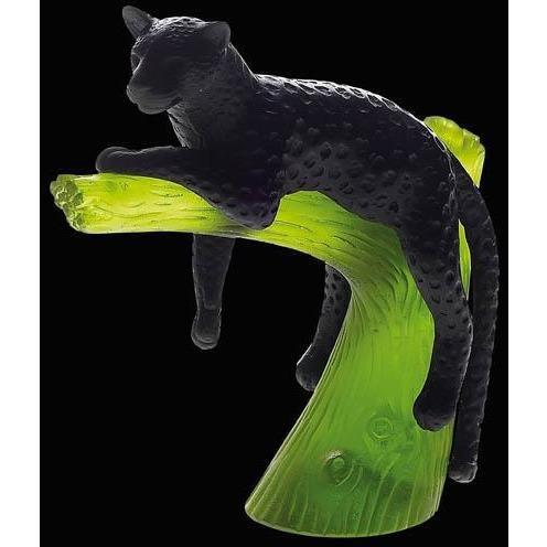 Daum Crystal Panther On Emerald Tree Black 05027-4