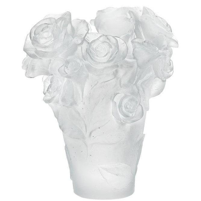 Daum Crystal Rose Passion White Vase 05287-1