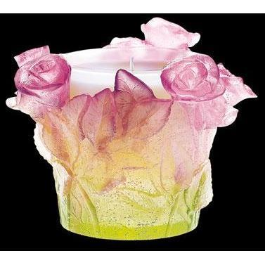 Daum Crystal Roses Candle Holder 02618
