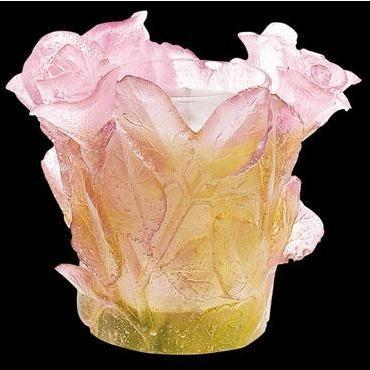 Daum Crystal Roses Pink Candle Holder 02666-1