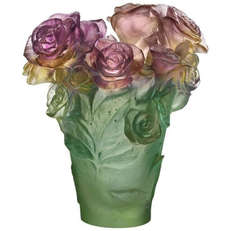 Daum Crystal Ross Passion Green & Pink Vase 05287